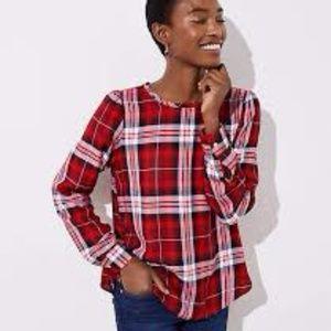 Loft Shirttall Hem Blouse Plaid